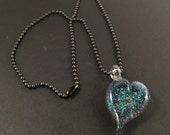 Glass Heart Pendant - Dichrioc Heart - Gunmetal Ballchain Necklace