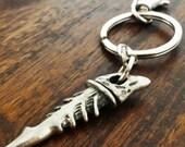 Sterling Silver keyring, Valentine's gift for men, Fishbone keychain, fish skeleton keyfob, Anniversary gift for him, gift for biker
