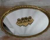 vintage Vanity Mirror and Lipstick Holder - chic Cottage Decor