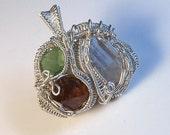 3 Stone Topaz Peridot Garnet & Silver Wire Wrapped Pendant