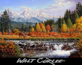 oil painting, Original Mountain Man and Beaver Dam Western Mountain Landscape, Americana, by Walt Curlee