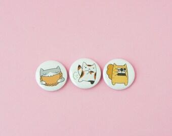 Empanada Cat, Kitten Toots, Photographer Cat • Set of 3 one inch buttons