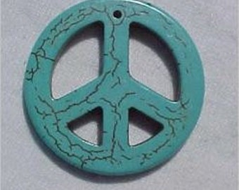 Turquoise Magnesite Peace Sign Pendant 33mm