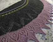 ARROWHEADS Handknit Shawl Shawlette Scarf Wool OOAK