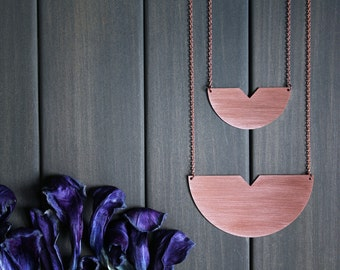 Meg Necklace - 3in or 2in copper brass semi circle statement geometric minimal big large huge round triangle arrow half moon rose gold color