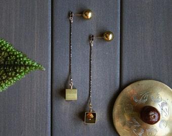 Lotta Earrings - ear jacket long chain modern minimal geometric gold brass with cube and ball