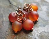 Matte Carnelian and Antiqued Copper Bead Charms - 1 Pair - 6 pieces