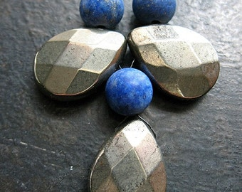 Large Faceted Pyrite and Matte Lapis Lazuli Bead Set - 6 pieces