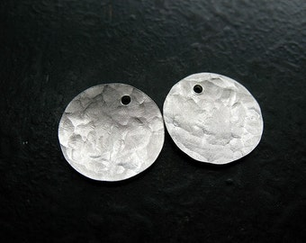 Hammered Sterling Silver Disc Charms in bright or Antiqued Finish - 1 pair