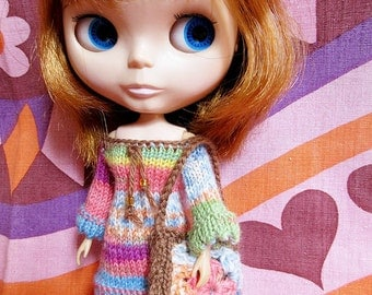 Blythe Hippie Dress & Crochet Bag Set - Pastels