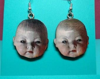Baby doll face earrings