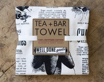 Carrots Print Flour Sack Towel. Silkscreened organic cotton or white Egyptian cotton tea towel. Dish towel, bar towel. Seed catalog print.