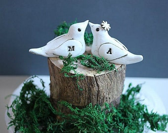 Rustic wedding cake topper - Clay Bird Cake Topper - Woodland Cake Topper - Clay birds MEDIUM SIZE - Love birds cake topper