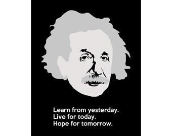 Albert Einstein Portrait and Inpirational Quote, 8x10 Minimalist Science Artwork, Science Gift for Teacher or Student, STEM Illustration