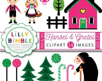 40% off Hansel and Gretel clipart Fairytale, candy, clip art, Fairy Tale, witch, kawaii, INSTANT DOWNLOAD