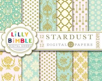 40% off Elegant digital paper with stars, damask, arrows, quatrefoil, pink, turquoise, mint and gold, scrapbook, Instant DOWNLOAD
