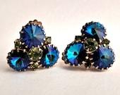 Swarovski rivoli earrings, Bermuda blue, green rhinestones. Crystal earrings. Clip ons.