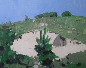 Sand Slip, Original Plein Air Late Summer Landscape Painting on Panel, Framed, Stooshinoff