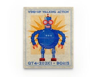 Kid Decor- Boris Retro Robot Art Series Block- Art for Boys Room- Robot Nursery Art- Robot Nursery Decor Boy- Kid Bedroom