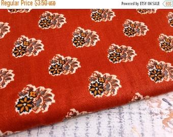 30% OFF SUPER SALE- Vintage Floral Fabric-Rust-Home Dec Fabric