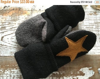 40% FLASH SALE- Black Wool Mittens--Toddlers-Eco Friendly-Star Mittens