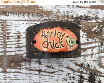 30% OFF SUPER SALE- Reserved-Stamped Leather Cuff-Pottery Bead Collection-Harley Chic-Word Cuff-