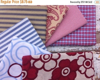 40% OFF FLASH SALE- Reclaimed Bed Linens Fat Quarter Bundle-Red White and Blue-Patriotic