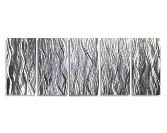 25% OFF SALE! Large Modern Abstract Metal Wall Art Sculpture in Silver, Decorative Multi Panel Wall Art Decor - Platinum Reeds by Jon Allen