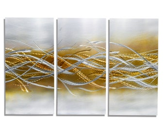 NEW! 3 Piece Handmade Contemporary Home Decor - Modern Gold & Silver Abstract Metal Wall Art Hanging - Blades of Harvest 3 by Jon Allen