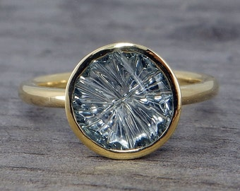 Montana Sapphire Ring - Recycled 18k Yellow Gold - Ripple Top Cut by John Dyer, 2.5 Carats - Engagement, Wedding, Cocktail Ring - size 6.25