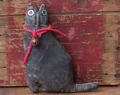 Primitive Black Cat, Small Black Cat Ornament, Miniature Cat, Kitty Cat Engagement Prop, Stuffed Animal - READY TO SHIP