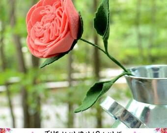 Large Felt Salmon Pink Cabbage Rose Flower Stem - Single or Bouquet for Home Decor/Wedding/Gift
