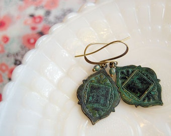 moroccan style boho verdigris dangle earrings- czech glass bead detail