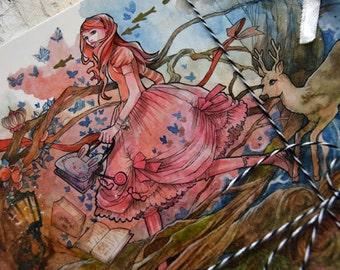 Postcard - Large - Traveling through Wonderland - Surreal - Fairy Tale - Art Card - Anime - Gothic Lolita