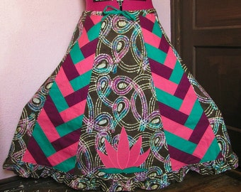 Batik and Braided Patchwork Hippie Skirt with Lotus Flower Applique