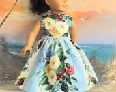 Sale American Girl Doll Clothes Dress Romantic Blue Floral and Stripes Medley OOAK