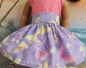 American Girl Doll Clothes Lavender Pastel Butterfly Very Fully Gathered 50s Style Skirt with Waistband Medley NEW Style