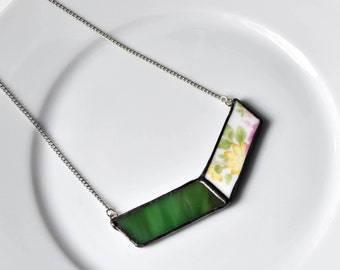Broken China and Stained Glass Chevron Necklace - Green Pink and Yellow Floral