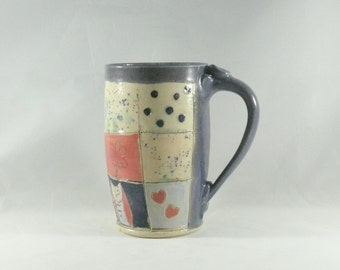 Unique coffee mugs, Large Tea Cup  pottery mug teacup, beer stein, tankard holds 18 ounces Big  mug, Ceramic mug pottery and ceramics, 392