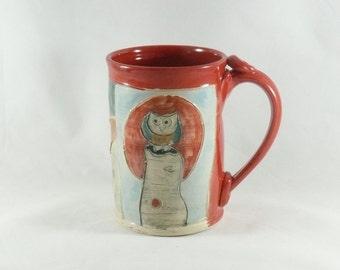 Handmade ceramic teacup in red, ceramic coffee cup or tea mug, pottery mug, clay cup 420