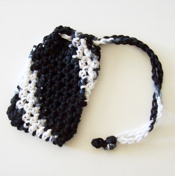 Cotton Crochet Soap Saver, Black and White Soap Saver, Crochet Soap Sack, Crochet Soap Bag, Reusable, Ecofriendly
