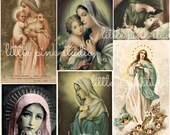 Blessed Mother,  DIGITAL collage sheet, instant download, printable collage sheet