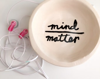 mind over matter  little handmade pottery trinket soap or ring dish