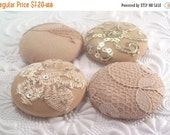 WINTER SALE - 4 pale peach buttons, fabric buttons, covered buttons, textured buttons, 1.5 inch button, size 60 buttons