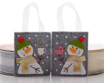 Snowman Ornament Set, 2 Handmade Felt Ornaments, Gift For Bird Lover, Felt Christmas Gift, Hand Embroidered, Advent Calendar Presents
