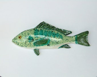Snapper ceramic fish art decorative wall hanging