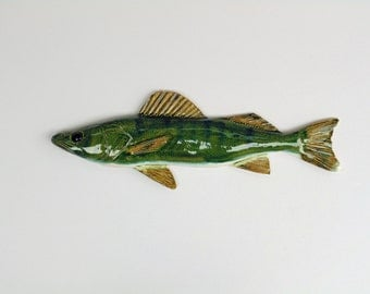 Walleye ceramic fish art decorative wall hanging