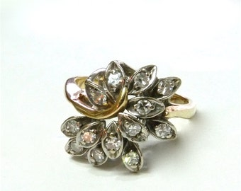 Vintage Engagement Ring Multi Diamond Art Deco 14K Two Tone Gold Wedding  Cluster Ring Size 5.75