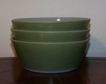 Vintage Federal Glass Heat Proof Olive Green Milk Glass Bowls Set of 3 Cereal Soup