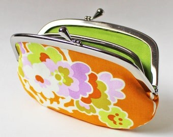 Coin purse wallet - flowers on orange, green chartreuse, flower blossoms, tangerine kiss lock coin purse, orange purse, flower change purse